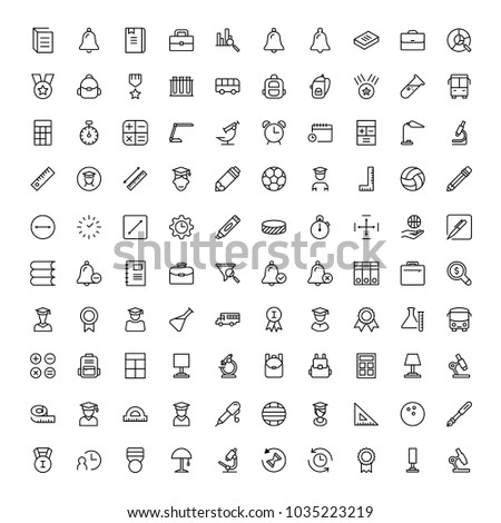 University icon set. Collection of high quality black outline logo for web site design and mobile apps. Vector illustration on a white background.