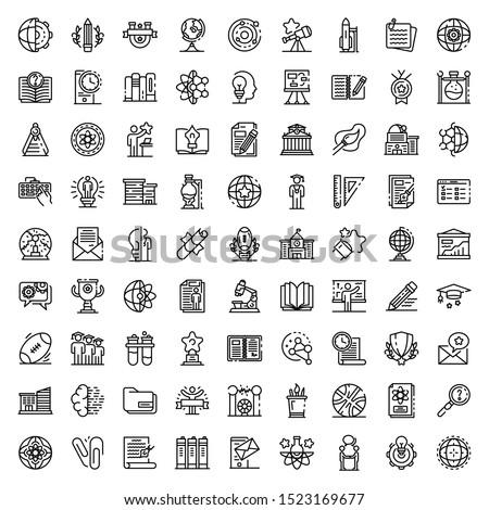 University icons set. Outline set of university vector icons for web design isolated on white background