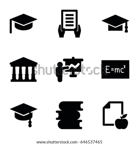 University icons set. set of 9 university filled icons such as court, book, graduation cap, holding document, paper and apple, arrows up, board with formulas, teacher