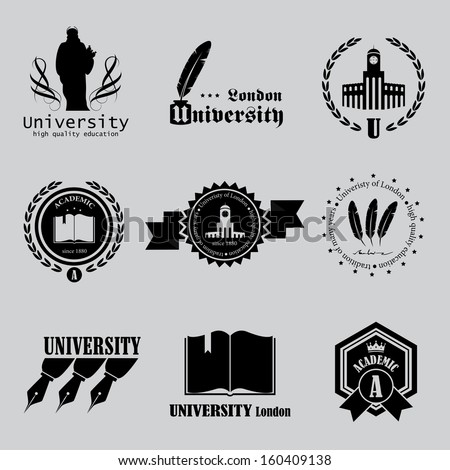 University Labels Set - Isolated On Background - Vector Illustration, Graphic Design Editable For Your Design