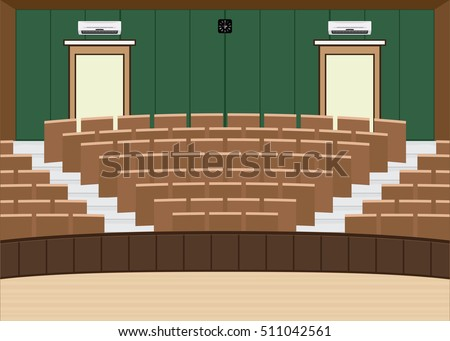 University lecture main hall with a Large Seating Capacity, lecture room interior building flat design vector illustration.