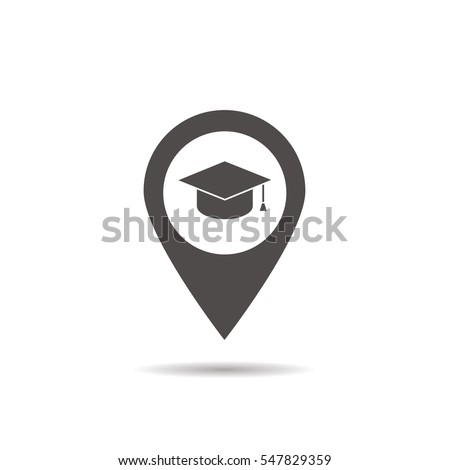 University location icon. Drop shadow map pointer silhouette symbol. Student's hat pinpoint. College nearby. Vector isolated illustration