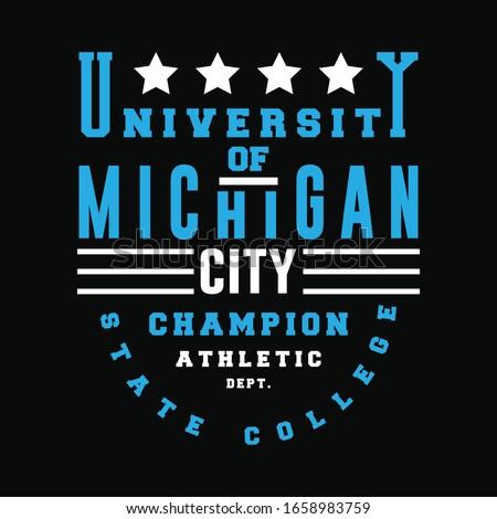 University of michigan city champion typography graphic design, for t-shirt prints, vector illustration