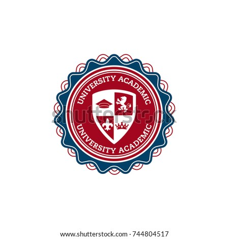 university or college educational emblems and symbols with education elements vector logo template