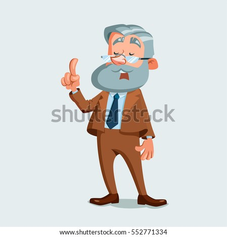 University professor giving a lecture. Vector illustration isolated on white background. Cartoon character.