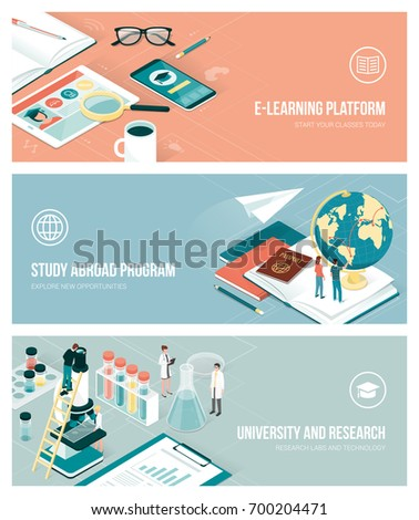 University, research and studying abroad concept with isometric people and objects, banners set