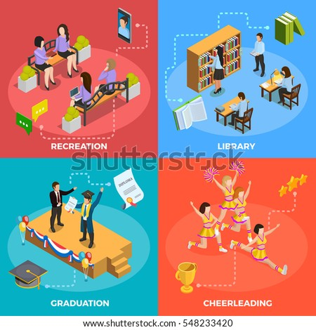 University students 4 isometric icons square poster with recreation graduation cheerleading and library moments isolated vector illustration