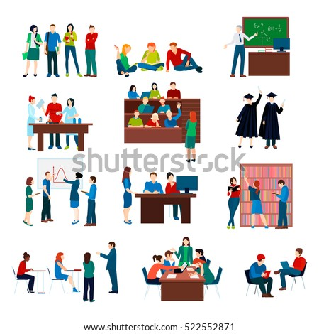 University students set in different situations and activities in flat style isolated vector illustration