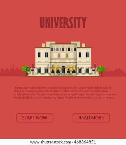 University. Vector illustration. Exterior. Flat style. College building. University building icon. Study banner. University building flat icon. Front view. EPS 10.