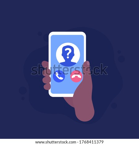 unknown caller, phone call, smartphone in hand vector icon Сток-фото ©