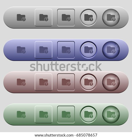 Unknown directory icons on rounded horizontal menu bars in different colors and button styles #685078657