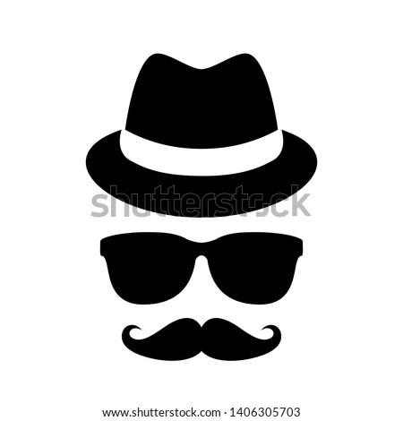 Unknown person in black glasses vector icon on white background Foto stock ©