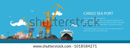 Unloading Coal or Ore from the Dry Cargo Ship, Banner with Sea Freight Transportation, Cargo Transport, Port Warehouses and Cranes, Vector Illustration