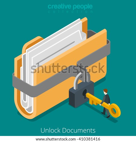 Unlock folder secure data file document with lock key icon. 3d isometric style vector illustration.