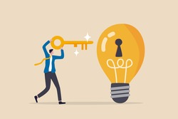 Unlock new business idea, invent new product or creativity concept, smart businessman holding golden key about to insert into key hold on lightbulb idea lamp.
