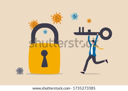 Unlock or reopen COVID-19 Coronavirus lockdown, restart business as usual to restore economic recession after Coronavirus crash concept, businessman leader holding key to unlock and reopen business.