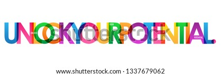 UNLOCK YOUR POTENTIAL colorful typography banner Stockfoto ©