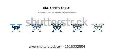 unmanned aerial vehicle icon in different style and thickness vector illustration. two colored and black unmanned aerial vehicle vector icons in filled, outline, line, stroke style can be used for