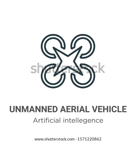 Unmanned aerial vehicle outline vector icon. Thin line black unmanned aerial vehicle icon, flat vector simple element illustration from editable artificial intellegence and future technology concept