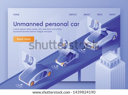 Unmanned Personal Car Banner, Artificial Intelligence Control Vehicle with Passengers Sitting in Cockpit. Smart Safety Autonomous Futuristic Automobile in City Traffic Isometric 3d Vector Illustration