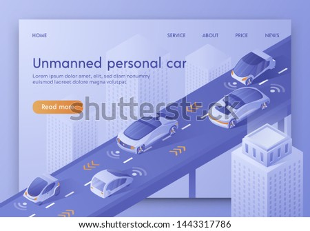 Unmanned Personal Car Banner. Autonomous Smart Cars Traffic Scanning Road, Observe Distance. Future Technology. Intelligent Highway System Automated Radar GPS Detector Isometric 3d Vector Illustration