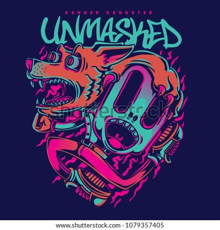 unmasked wolf illustration