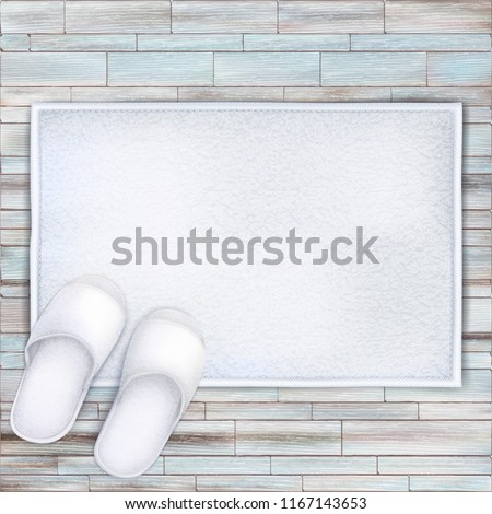 UNn Vector. Mock Up. White Set Spa unfolded Towel vs Slippers on Wood Background. Welcome mat outside the front door.