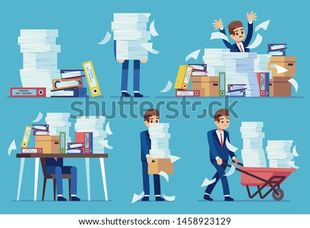 Unorganized office work. Accounting paper documents piles, disarray in files on accountant table. Routine paperwork vector business desk printing messy sheets lots person, overworked concept