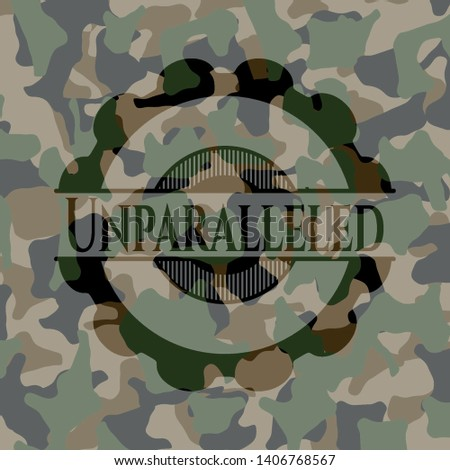 Unparalleled camo emblem. Vector Illustration. Detailed.
