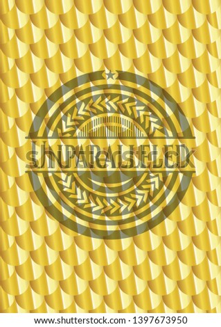 Unparalleled gold emblem or badge. Scales pattern. Vector Illustration. Detailed.