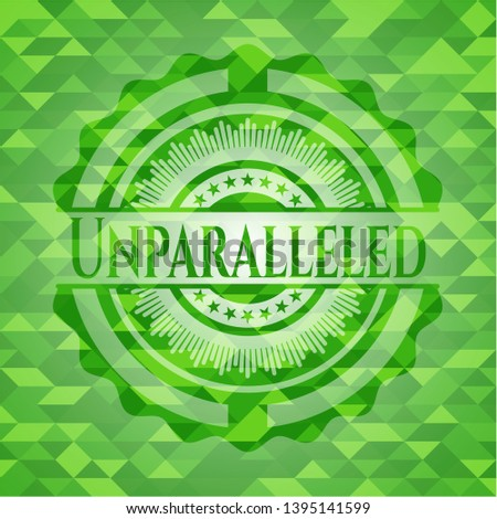 Unparalleled green emblem. Mosaic background. Vector Illustration. Detailed.