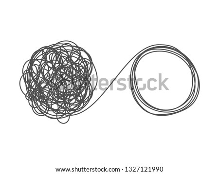 Unraveling tangled tangle. Metaphor of problem solving, difficult situation, chaos and mess. Vector illustration isolated on white background