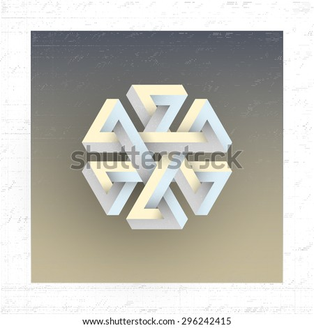 Unreal impossible geometric figure, vector element for design.