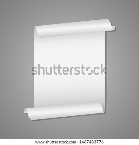 Unrolled white scroll mockup vector design illustration isolated on grey background ストックフォト ©