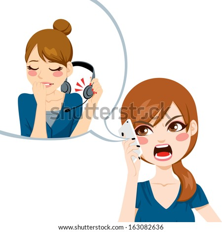 Unsatisfied woman using smart phone yelling angry to call center agent for bad customer service assistance