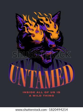 untamed cat slogan print design