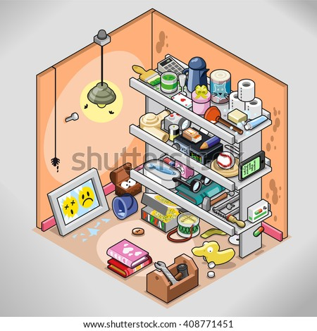 Untidy storeroom with lots of things stuffed in a shelf (isometric view) Foto stock ©