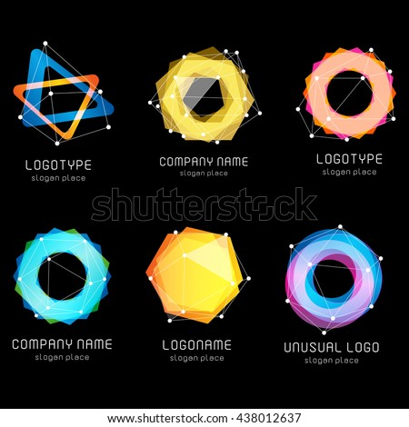 Unusual abstract geometric shapes vector logo set. Circular, polygonal,triangular colorful logotypes collection on the black background.
