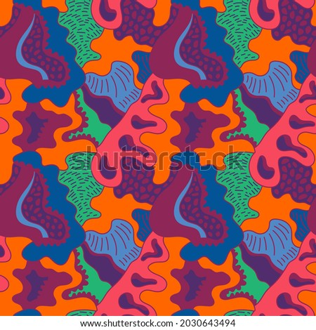 Unusual abstract seamless artwork with hand drawn creative pattern for print, fabric, clothes, cloth