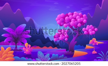 Unusual alien plants and mushrooms. Fantasy colorful landscape of fictional universe.