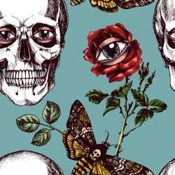Unusual and surreal texture with skulls, roses, eyes and Death's head hawk moths. Hand-drawn vector seamless pattern for your mystic design.