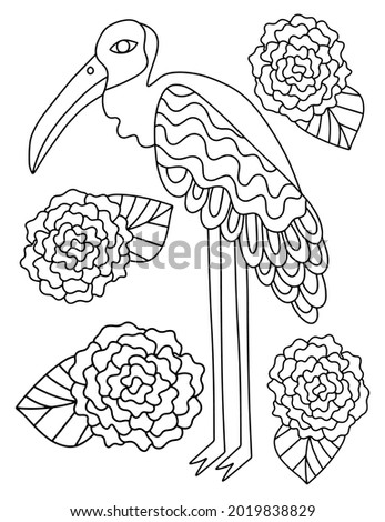 Unusual bird with long legs and flowers around coloring page for adults vector illustration. Hand-drawn big bird and roses linear vertical printable page