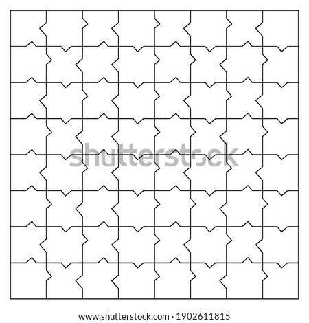 Unusual Blank Jigsaw Puzzle 64 pieces. Simple line art style for printing and web. Geometric triangle style. Stock vector illustration
