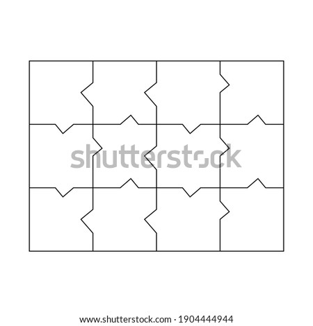 Unusual Blank Jigsaw Puzzle 12 pieces. Simple line art style for printing and web. Geometric triangle style. Stock vector illustration isolated