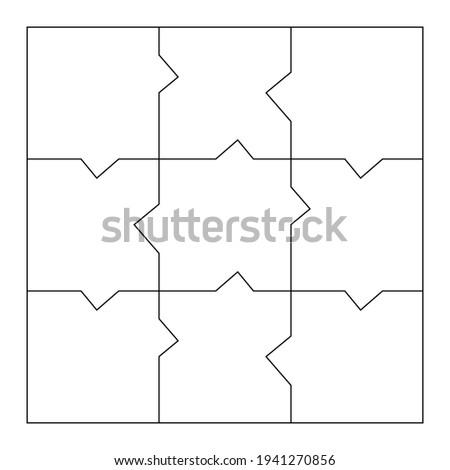 Unusual Blank Jigsaw Puzzle 9 pieces. Simple line art style for printing and web. Geometric triangle style. Stock vector illustration
