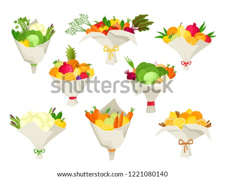 Unusual bouquets of vegetables and fruits isolated on white. Vector set with original presents used for magazine, cafe, stickers.