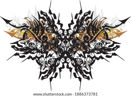Unusual butterfly wings with leopard patterns. Abstract butterfly wings formed by the heads of a leopard cub with floral elements on a white backdrop for prints, tattoos, textiles, wallpaper, etc.