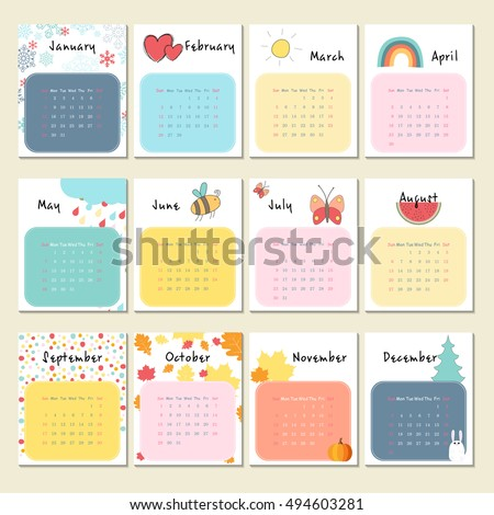 Unusual calendar 2017 in cartoon style with cute animals. Vector illustration.