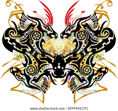 Unusual colored butterfly wings created by dragons. Beautiful abstract butterfly wings with floral splashes and golden decorative elements for wallpaper, posters, textiles, prints on t-shirts, etc.