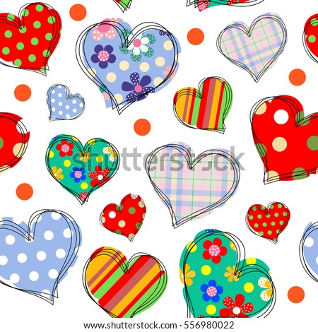 Unusual colorful seamless background with stylized abstract hearts. EPS10